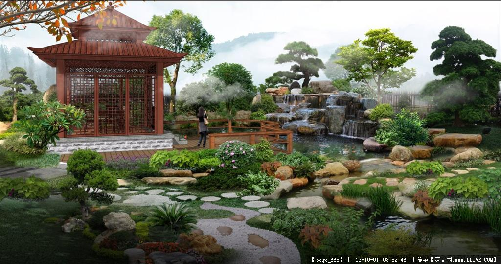 别墅庭院园林景观效果图psd格式