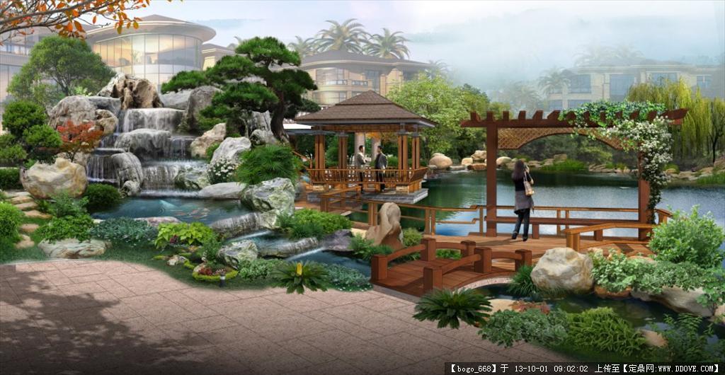 别墅区假山水景景观效果图psd格式图片