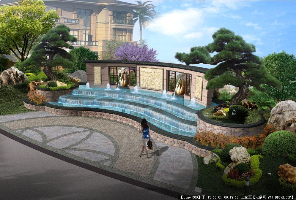 别墅区园林景墙效果图psd格式