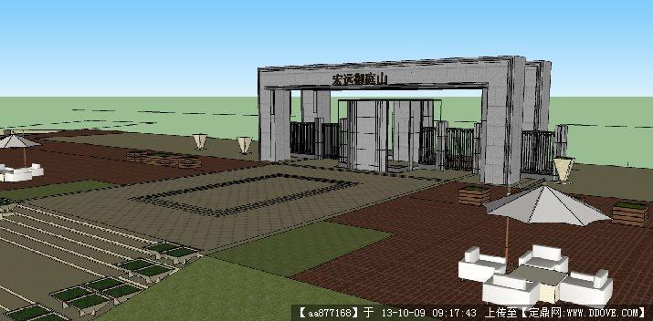 住宅小区大门su建筑设计精品模型