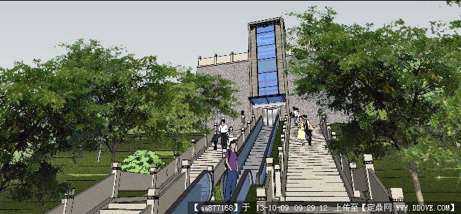 教堂入口台阶建筑与景观设计su精品模型