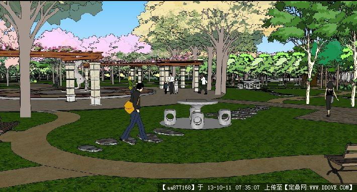 手绘平面动漫主题主题休闲广场