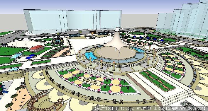 大型广场景观设计su精品模型