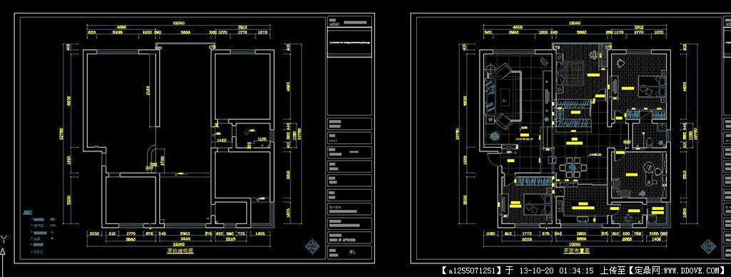 室内设计cad全套图水,电,布置及图纸封面