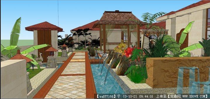 东南亚风格屋顶花园SU景观设计精品模型