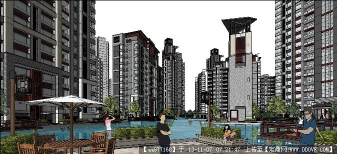 仿徽式小区su精品建筑与景观设计完整模型