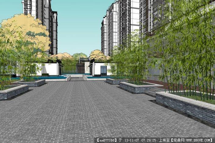 新中式小区建筑与景观设计su精品完整模型