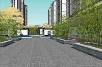 效果图 模型/新中式小区建筑与景观设计SU精品完整模型...