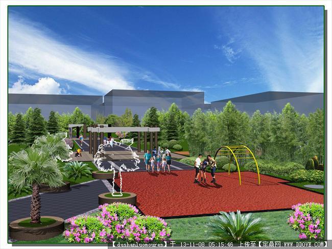线性休闲广场设计效果图