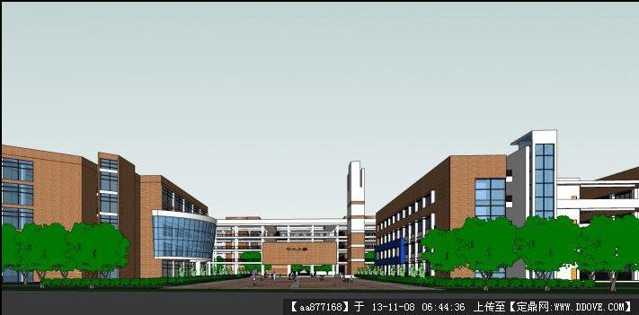 学校建筑设计su精品模型图片