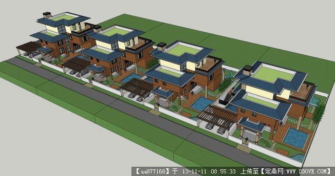 独栋别墅建筑设计方案su精品模型