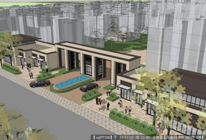 大气现代的小区大门岗su精品建筑与景观设计模型