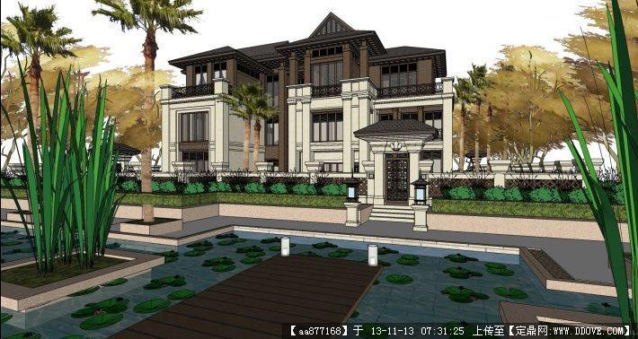 东南亚风格别墅 su精品建筑与景观设计模型