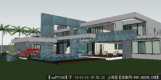 别墅su建筑与景观设计精品模型 欧式会所建筑景观su模型 精品建筑效果
