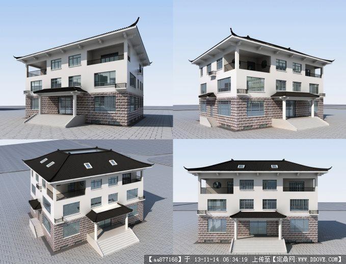 一个三层 中式檐角 小别墅su建筑精品模型
