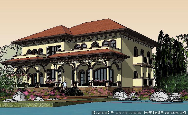 地中海别墅建筑与景观设计su精品模型
