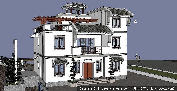 仿古别墅SU精品建筑设计模型