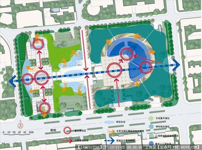 某商业广场景观设计图-广场绿化与景观分析图.jpg