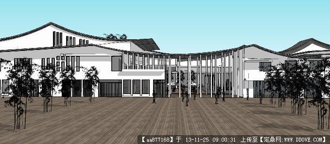 仿古中式商业街su精品建筑与景观设计模型图片