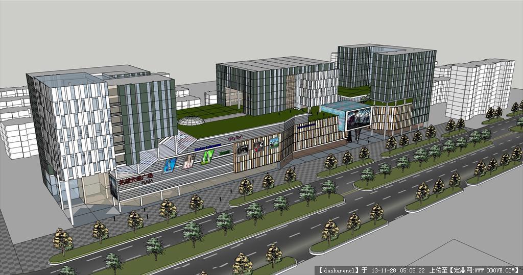 商业广场su模型