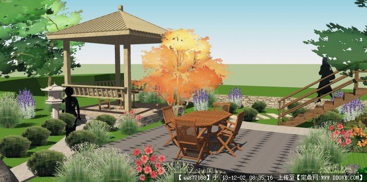 别墅庭院su精品景观设计模型
