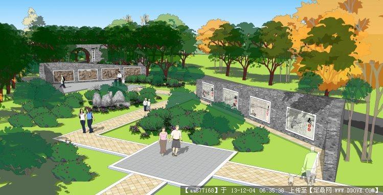 公园的小节点景观设计su精品模型