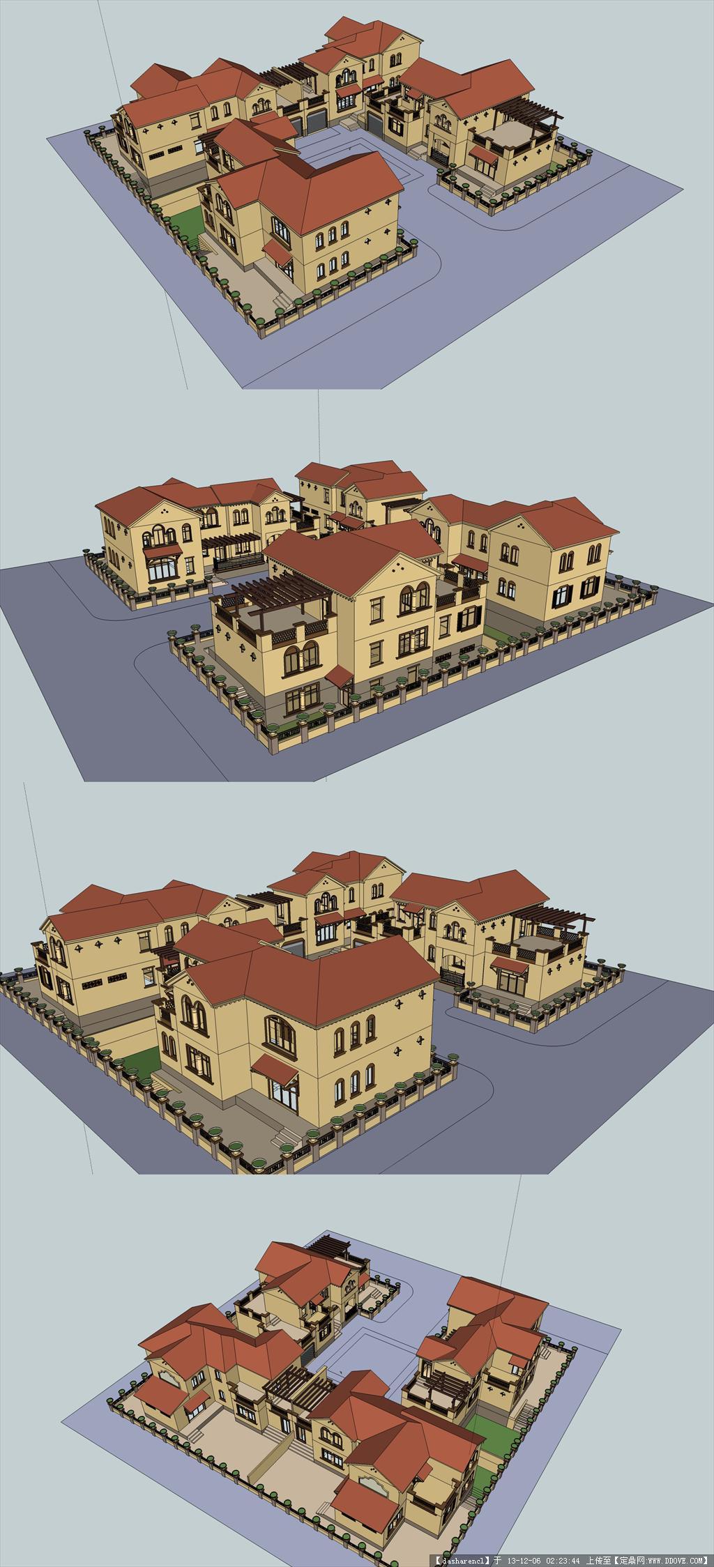 四合院式的别墅,感觉比联排别墅要好,模型,精品