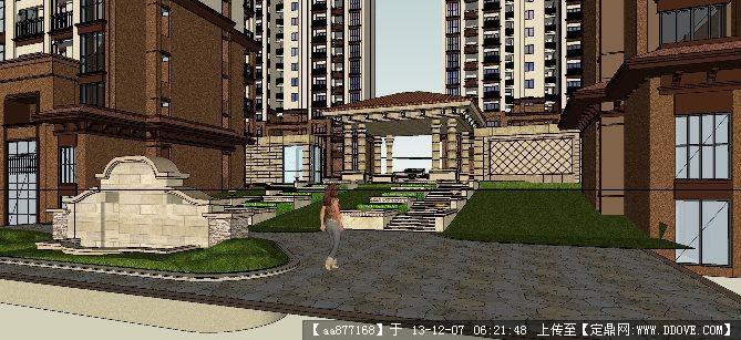 欧式住宅区su精品建筑与景观设计模型