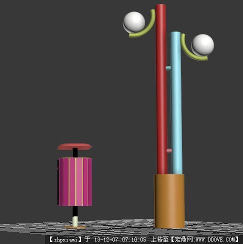 3d灯柱垃圾桶的下载地址,三维模型,灯具模型,园林建筑