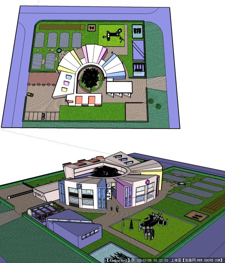幼儿园设计模型,圆形