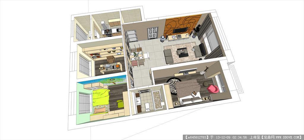 超精细室内sketchup模型---88平米户型方案