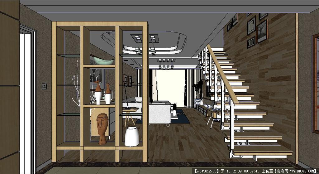超精细室内sketchup模型---客厅及餐厅