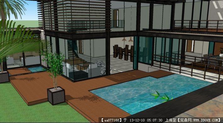 极简主义别墅su精品建筑与景观设计模型