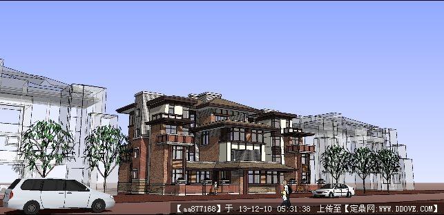 草原派风格洋房su精品建筑设计模型