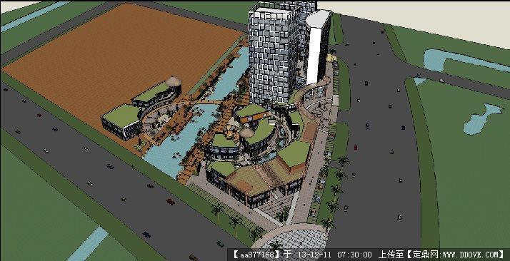 临水商业街区su精品建筑与景观设计模型