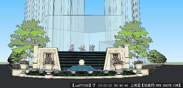 入口水景su精品景观室设计模型