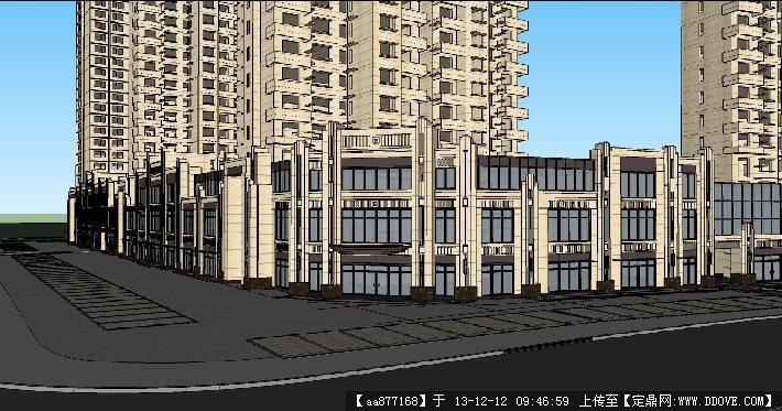 沿街商业住宅小区su精品建筑设计模型 高清图片
