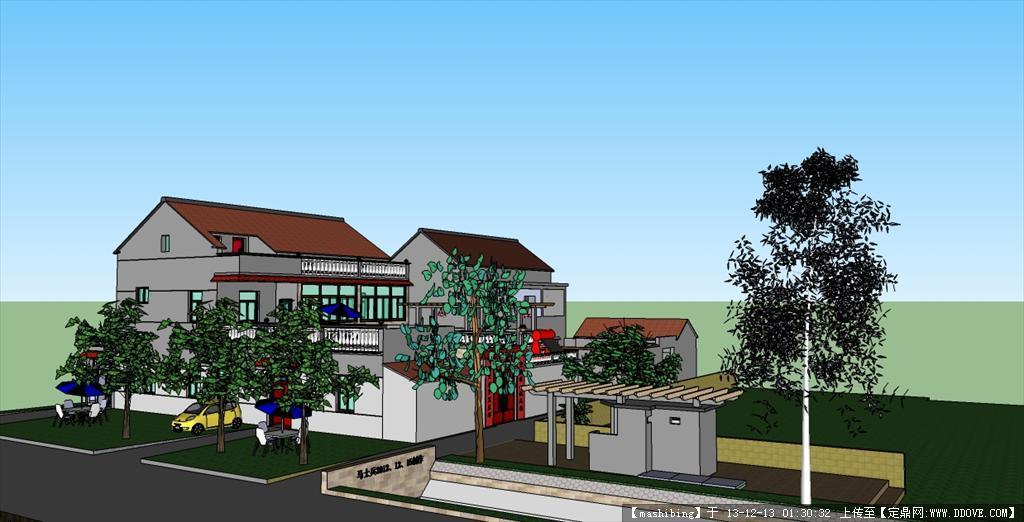 南方农村住宅三维效果图高清图片