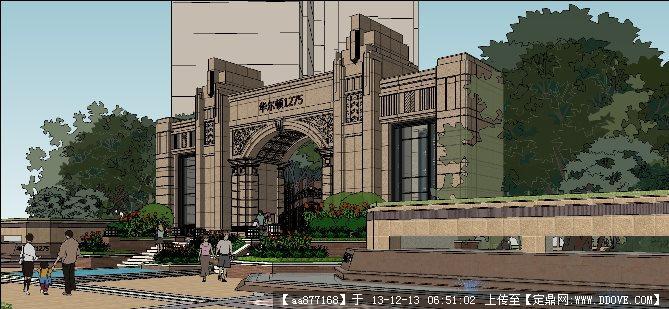 欧式小区大门SU精品建筑与景观设计模型