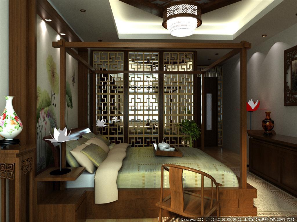 中式卧室3d效果图