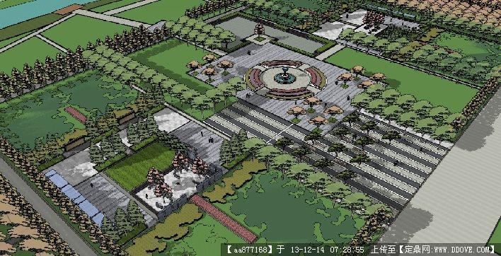 市政小游园su精品景观设计模型