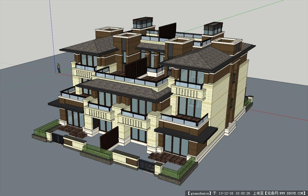 双拼别墅建筑设计精品su草图模型