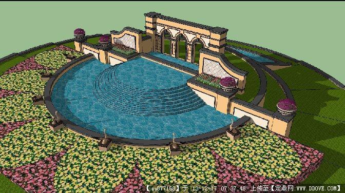 欧式喷泉景观小品su精品模型图片