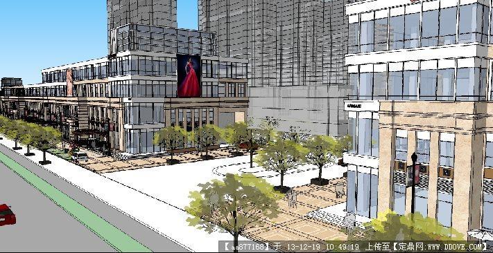 沿街商业su精品建筑与景观设计模型