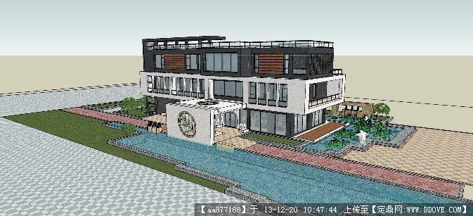 现代风格的会所su精品建筑与景观设计模型的下载地址