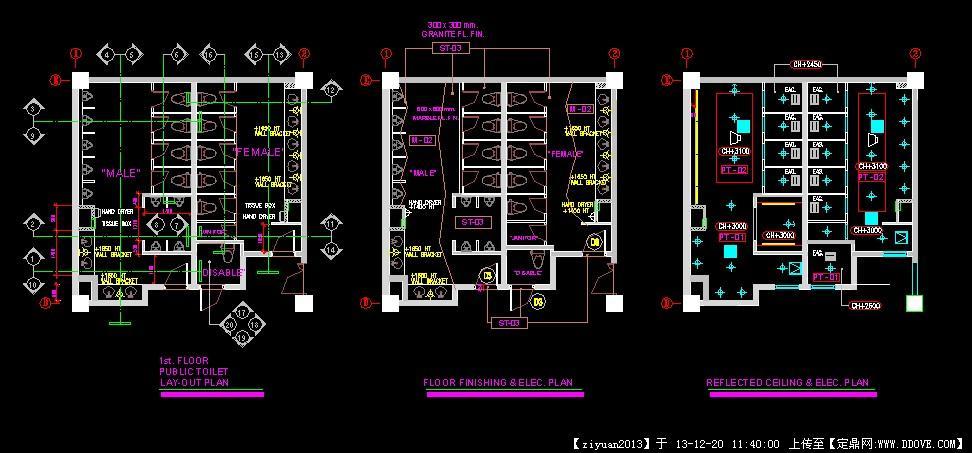 一个卫生间的完整施工图csol图纸取消图片