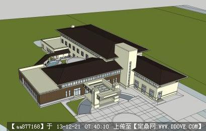 欧式三层教学楼建筑设计su模型