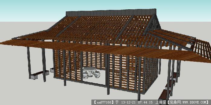 新中式景亭su景观设计精品模型
