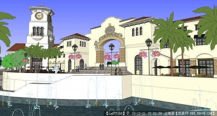 一个法式别墅区入口su精品建筑与景观设计模型