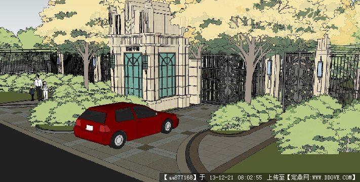 小区大门su精品建筑与景观设计模型